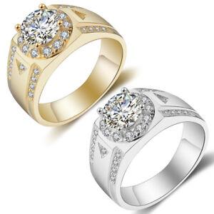 Fashion Men Big Cubic Zirconia Inlaid Wedding Band Ring Jewelry