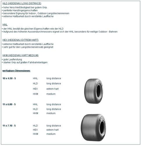 2x HLD 11x7,10-5 Rennkart 1 Satz Heidenau Kartreifen 2x HLD 10x4,50-5