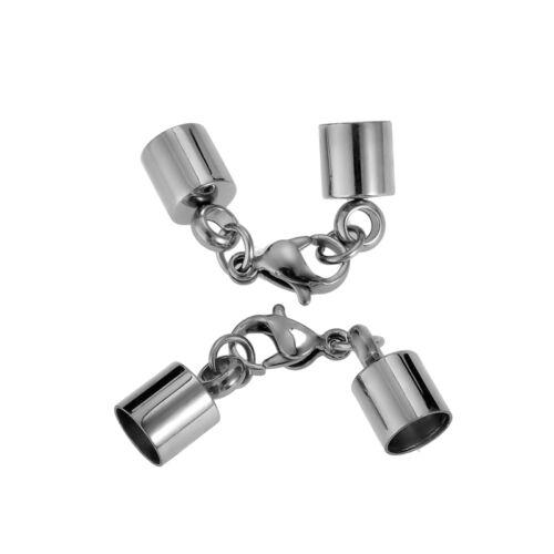 2 Edelstahl Endstücke Endkappen Karabinerverschluss für Halskette Silber M5083