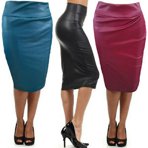 New-Women-Pencil-Skirt-Plain-High-Waist-Below-Knee-Faux-Leather-Bodycon-Skirt