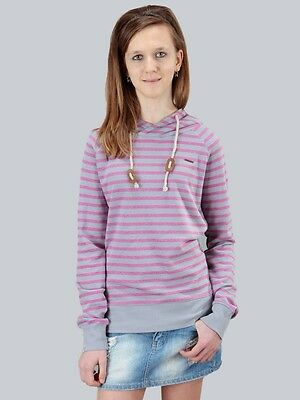 Neu Ragwear Yoda Stripes Damen Kapuzenpullover Hoodie Sweatshirt pink