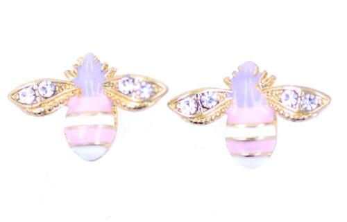 Super cute gold tone enamel bee stud earrings with crystal