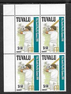 TUVALU-1991-9th-SOUTH-PACIFIC-GAMES-Single-CRICKET-Top-Left-Corner-Block-4-MNH
