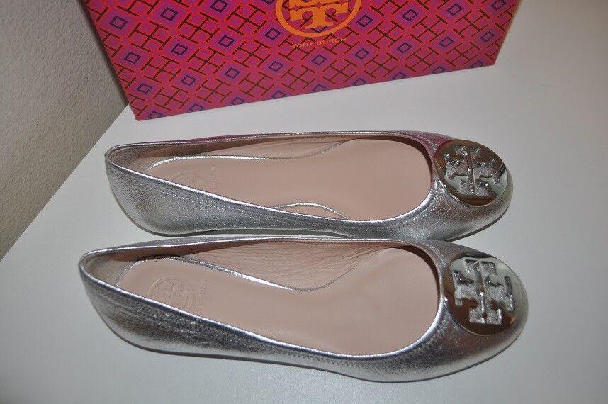 NEW Tory Burch Reva Silver Crackled leather Logo Ballet Flat schuhe Ballerina 10 C