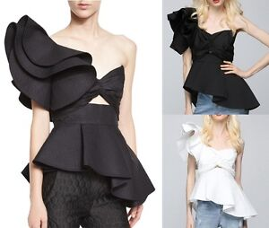 f4dc3ab38a5 Image is loading Designer-Structure-Asymmetric-Large-Ruffle-One-Shoulder- Peplum-