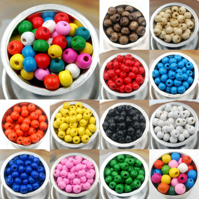 WOODEN ROUND WOOD BEADS 1000 x 4MM MANY COLOURS