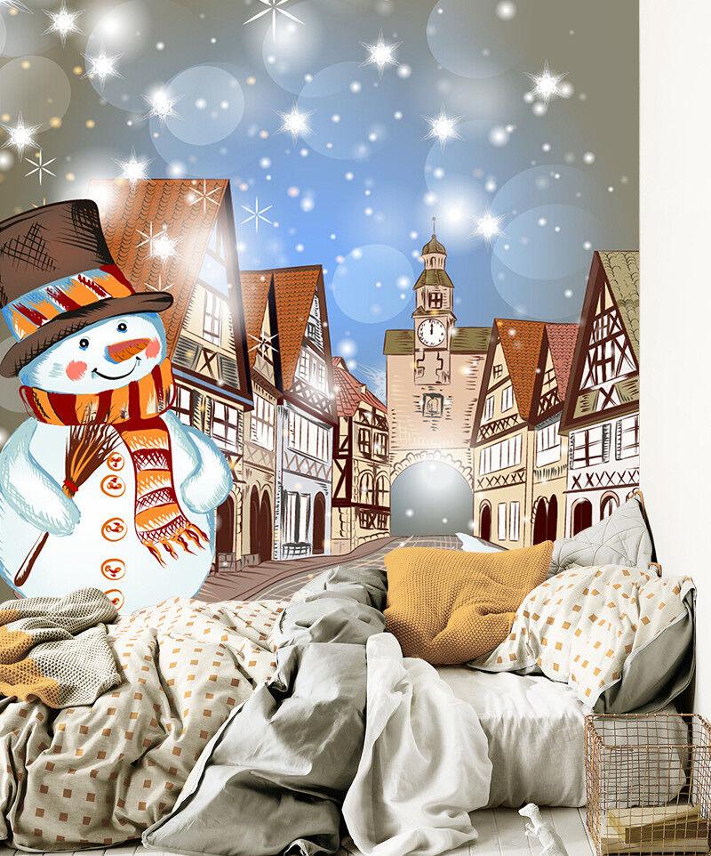 3D Art City Snowman 84 Wall Paper Murals Wall Print Wall Wallpaper Mural AU Kyra