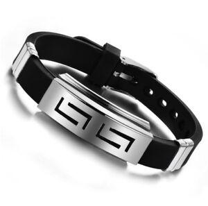 Messieurs-les-hommes-Bracelet-Armkette-Chaine-Diesel-remorque-Silicone-vintage-en-acier-inoxydable