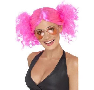 Womens Cute 80/'s Pink Bunches Wig Britney Disco Fancy Dress Punk Rock 90/'s Pop