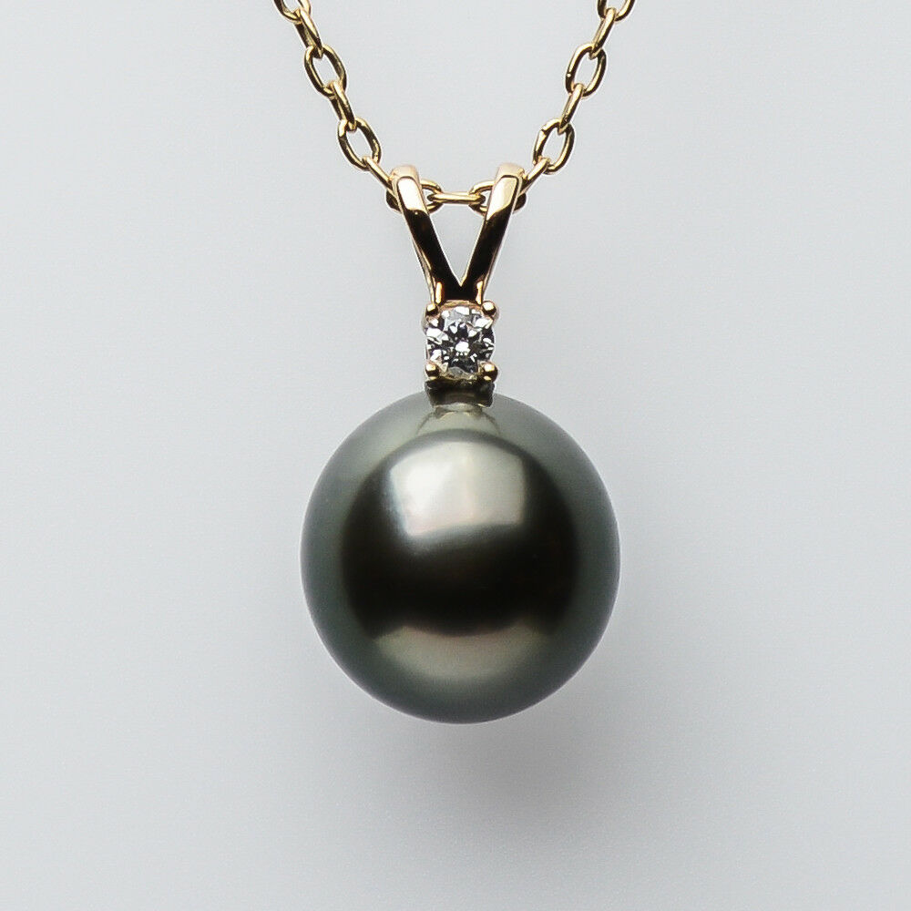 AAA 9.2mm Natural Green Genuine Tahitian Sea Pearl Pendant Solid 14k Yellow gold