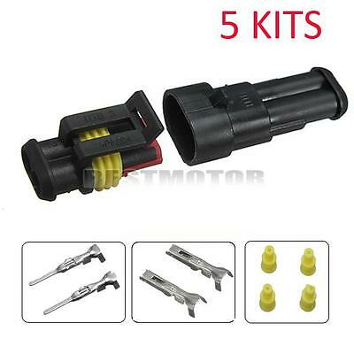 5 Kits 2 Pin Way Car Waterproof Electrical Connector Plug 【TRACK US AVAILABLE】