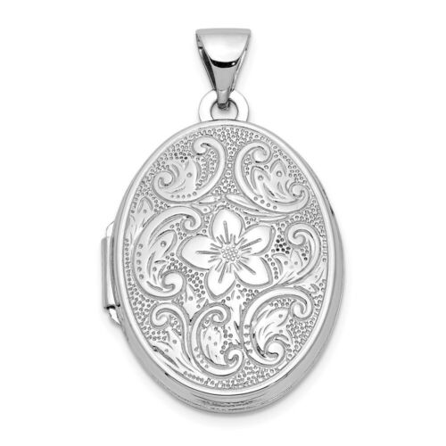 14K White Gold 21mm Oval Floral Scroll Border Locket 30x21mm 1.39gr