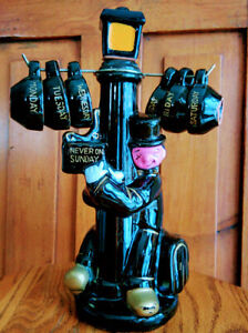COMPLETE-DECANTER-w-6-CUPS-Retro-Vintage-50s-60s-Never-on-Sunday-Lamp-post-Drunk