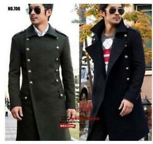 New-Mens-Wool-Military-Trendy-Trench-Long-Overcoat-Peacoat-Coat-Jacket-Cashmere