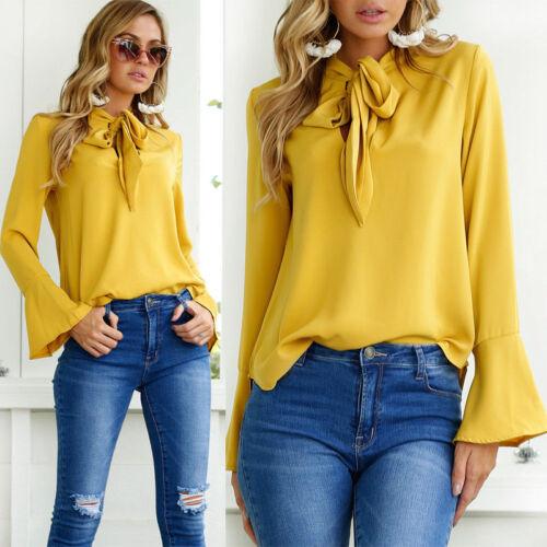 Damen OL T-shirt Riemchen Chiffon Tops Hemd Blusen Oberteil Shirt Business KUS