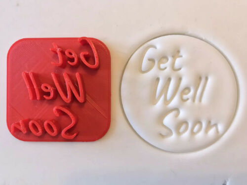 Fondant Icing Cupcake// Cake //Cookie Embosser Stamp Get Well Soon