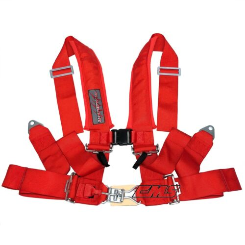 "Slasher UTV 4 Point 3/"" Seat Belt Harness Red for 2 Seats RZR 1000 Maverick X3"