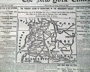 BATTLE-OF-SHILOH-Memphis-Tennessee-TN-Civil-War-Miss-Valley-MAP-1862-Newspaper