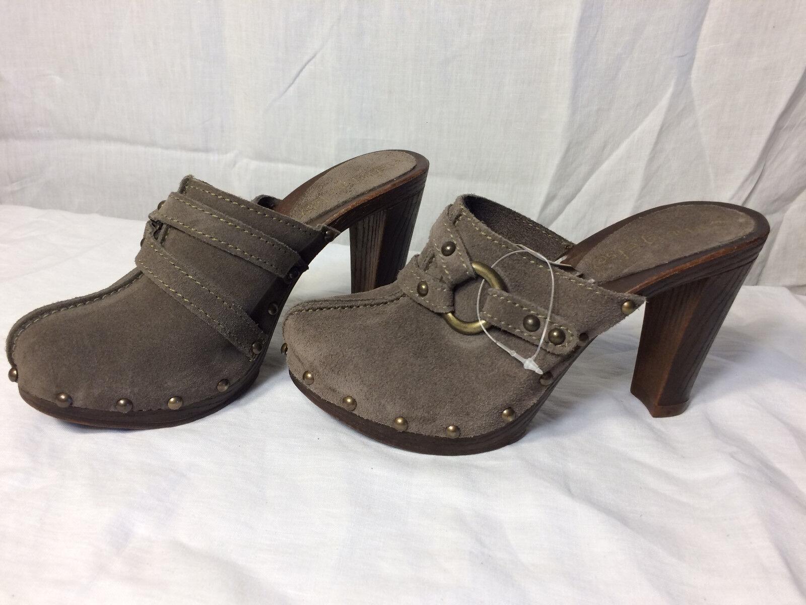 Nothing Else Mule Shoes Clog Wood Heel Platform Grey Suede US 7.5 Womens