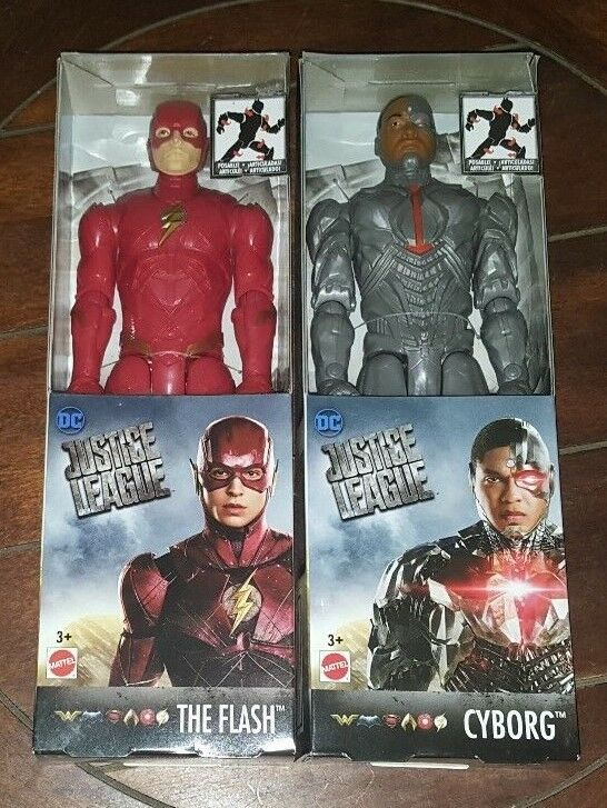 2 New DC Justice League CYBORG + THE FLASH Posable Action Figures
