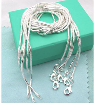 Wholesale lots 5pcs 925 Sterling Silver Snake Chain Necklace 16-30 inch women