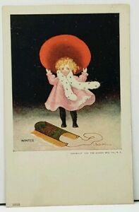Bernhardt-Wall-Winter-Girl-with-Sled-1906-Postcard-H10