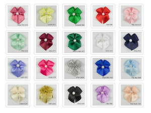 Satin-Ribbon-Bows-With-Pearl-Bead-Choice-of-22-Colours-Packet-Sizes-15-50-amp-100