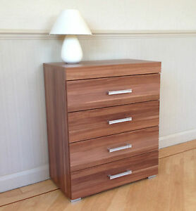 Image Is Loading Chest Of 4 Drawers In Walnut Effect Bedroom