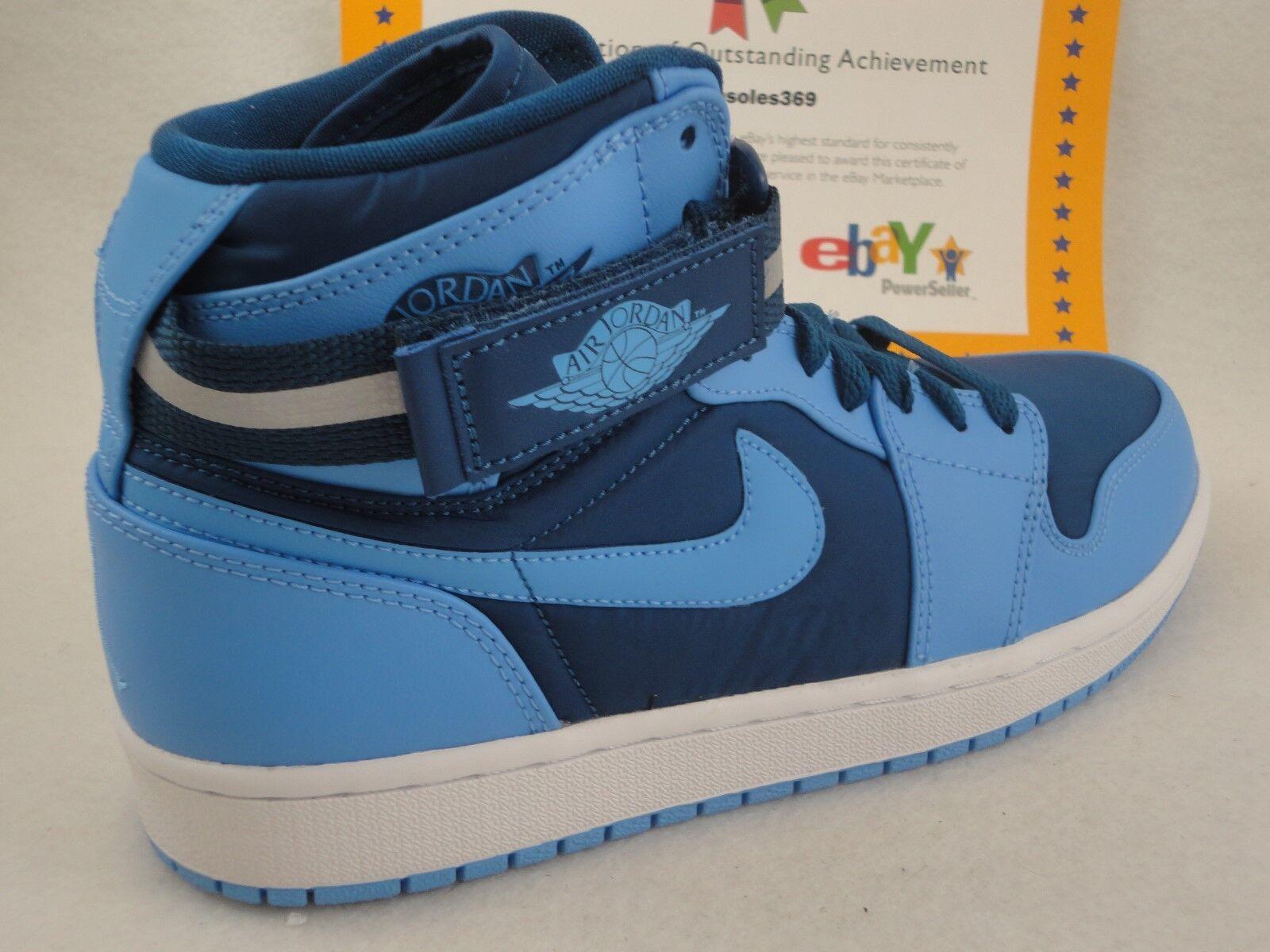 Nike Air Jordan 1 alta correa, French French correa, Azul / Universidad Azul, UNC, Nylon SZ 11 especial de tiempo limitado ae1cfc