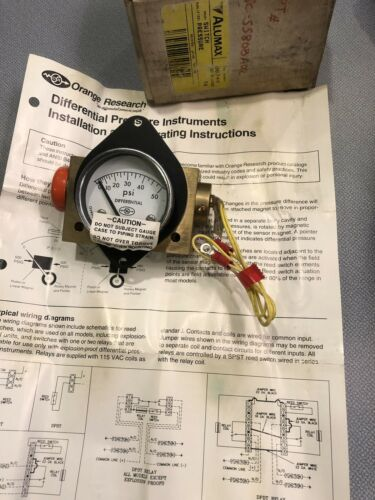 New Orange Research 1201-E1060 Differential Pressure Gauge Flow Meter Free Ship