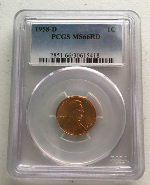 1958-D PCGS MS66RD Certified One Cent Lincoln Wheat Ear Penny Free Shipping