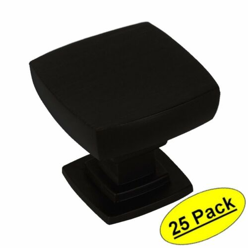 *25 Pack* Cosmas Cabinet Hardware Flat Black Contemporary Square Knobs #5232FB