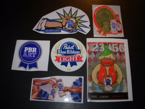 PABST BLUE RIBBON 6 STICKER PACK LOT decal craft beer brewery brewing