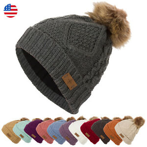 c88b1e0ba Details about Women's Faux Fur Pom Pom Fleece Lined Knitted Slouchy Beanie  WInter Warm Hat