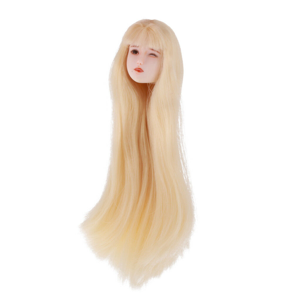 1 6 Scale Woman Head Model with Blonde Hair for 12'' Action Figure Body