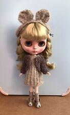 Blythe Doll Outfit-Handmade Knitted Dress, Jacket & Teddy Bear Ears
