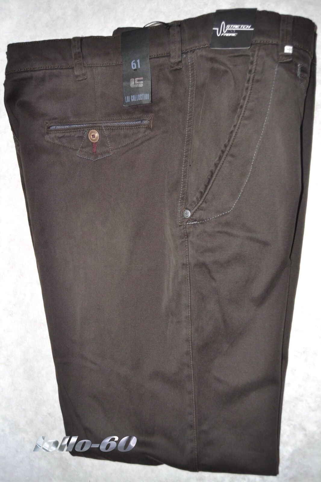 Men's trousers PLUS SIZES size 63 stretch cotton outsize brown