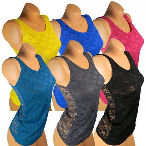 Damen T-Shirt Netzhemd Hemd Netz Spitze Shirt Blumen Tank Top Tunika Vm203