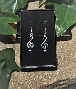 Handmade-Treble-Music-Clef-Silver-Plate-Earrings-Pair-Gift-Boxed