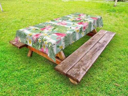 Flamingo Outdoor-Tischdecke Exotische Hawaii-Blätter
