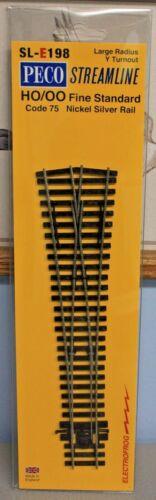 HO Scale PECO STREAMLINE SL-E198 ELECTROFROG Code 75 Large Radius Y Turnout