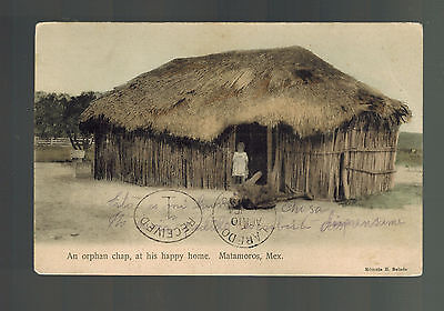 1908 Matamoros Mexico Real Picture Postcard Cover To Usa Happy Orphan Thatch Hut Handig Om Te Koken