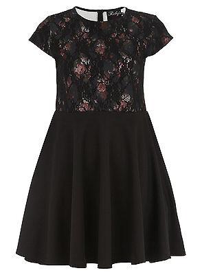 Ruby's Closet BLACK Bonded Lace Print Skater Party Dress - Sizes 12 14 16 18