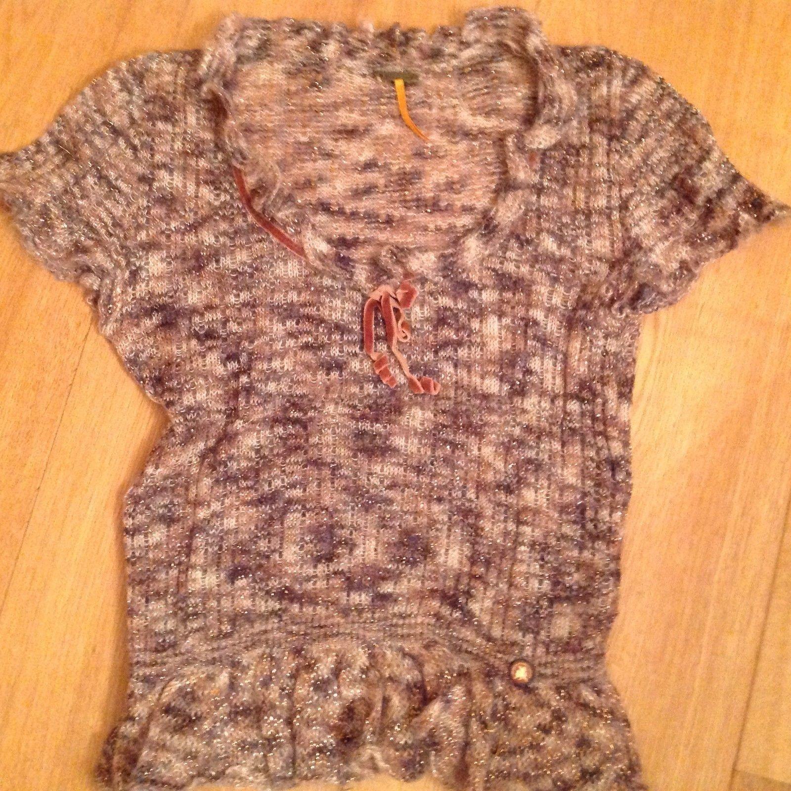 Fornarina Designer mohair metallic weave vintage style short sleeve jumper