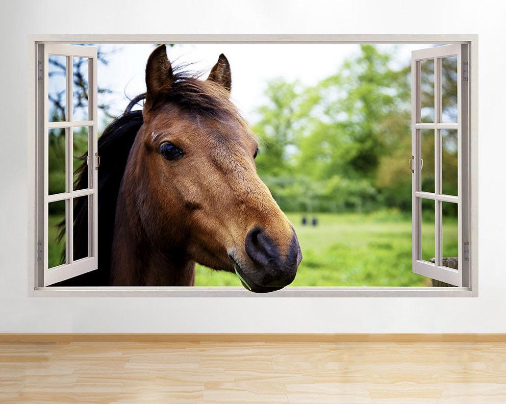 F211 Pferd HeaFarm Tier-Kind-Fenster Wandaufkleber Wandsticker Kinderzimmer 3D