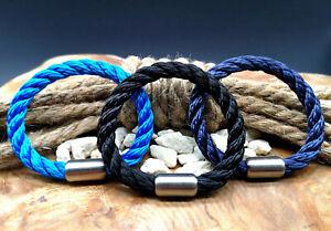 Segeltau-Armband-8mm-NEU-Schwarz-Blau-Magnetverschluss-Handmade-Herren-Frauen