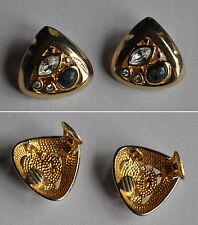 Boucles d'oreille anciennes strass transparent taillé joaillerie et pierre verte