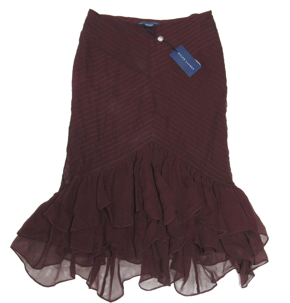 498 Polo Ralph Lauren Womens Ruffle Sheer Silk A Line Peplum Skirt New 4 6 8