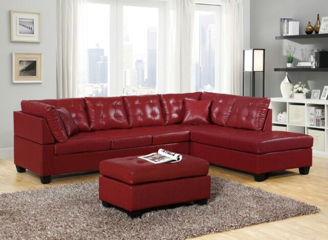 Modern Leather Sectional Sofa Chaise Couch Set Soft Living Room Furniture  Red