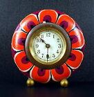 Réveil rond floral art-déco années 30 c1930 Alarm clock with red flowers